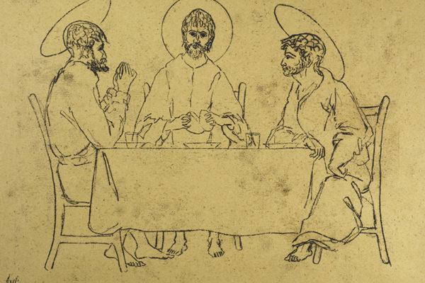 cena-ad-emmaus-disegno-di-corrado-cagli-1976