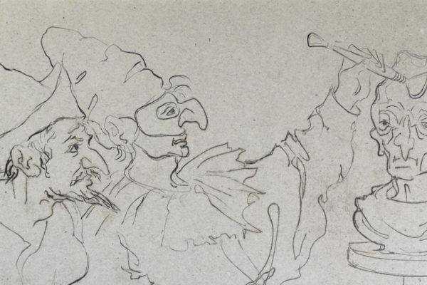 pulcinella-scultore-in-dettaglio-disegno-di-corrado-cagli-1976